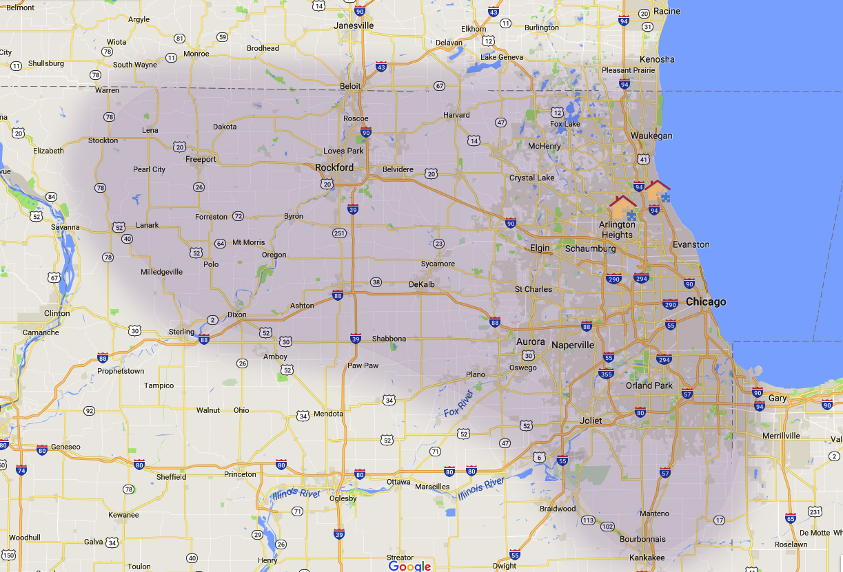 ABA therapy Chicago and Rockford map