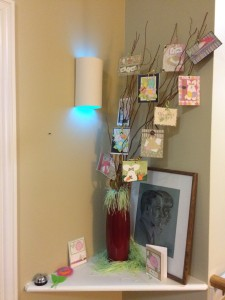 Sarah's parents lit it up blue for autism awareness in their hallway at assisted-living.